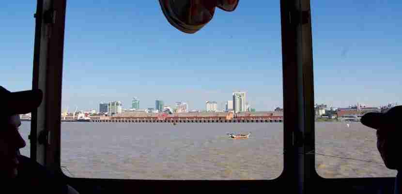 The ferry ride between Yangon and Dala affords just enough time to enjoy a coffee and view of the cityscape. Image courtesy of the author.