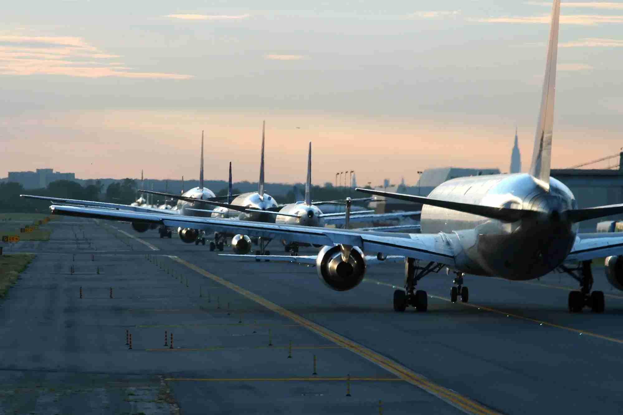 evening traffic at New York JFK airport