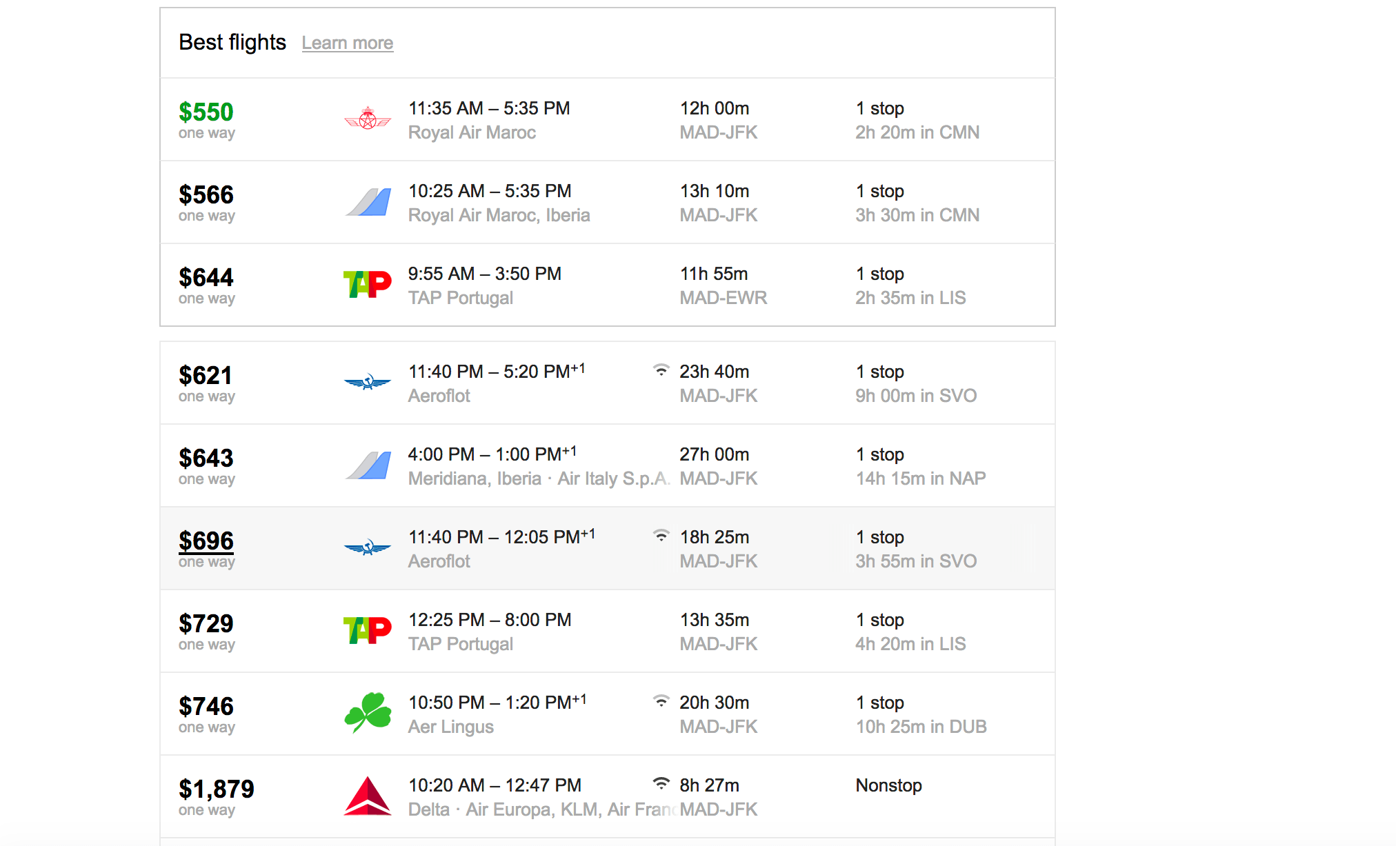 Google Flight prices