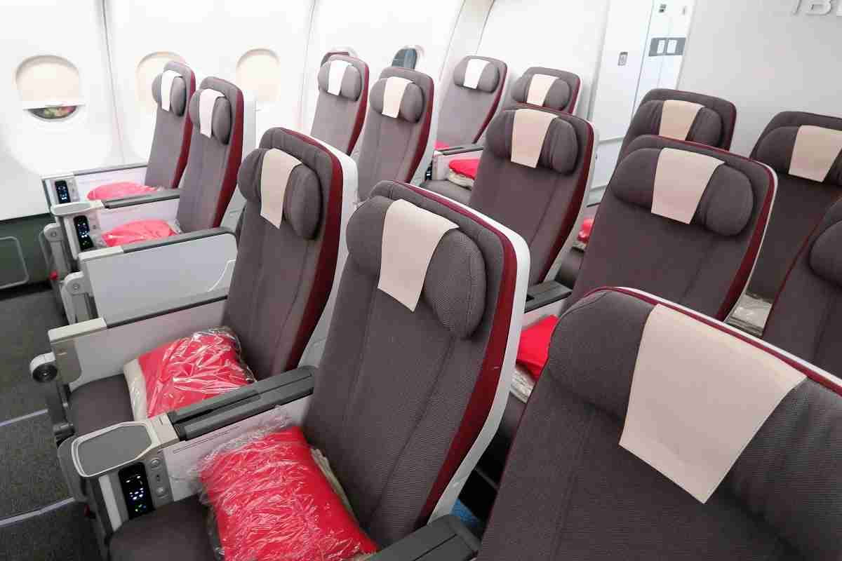 Iberia A340-600 premium economy cabin with bathroom