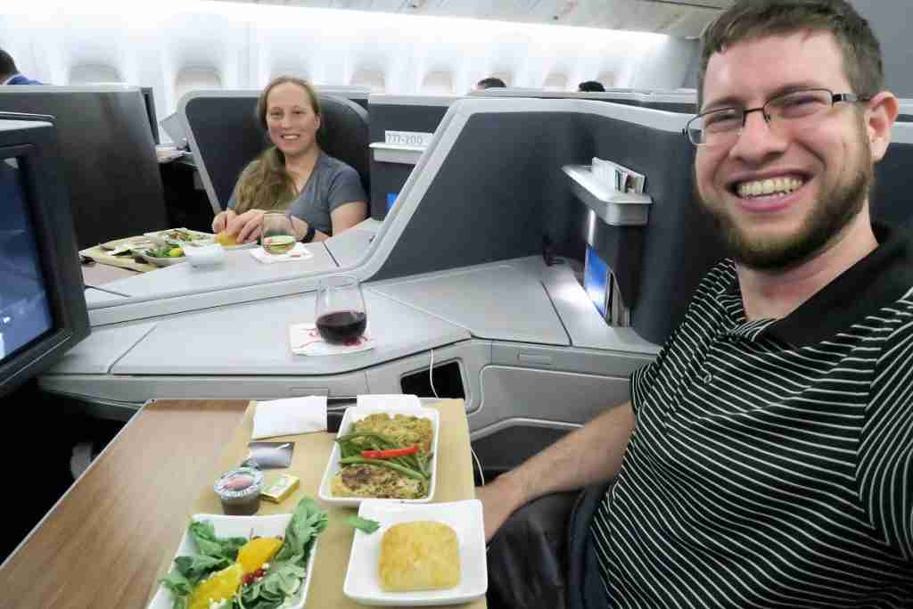 Dinner on-board our flight from DFW to MIA.