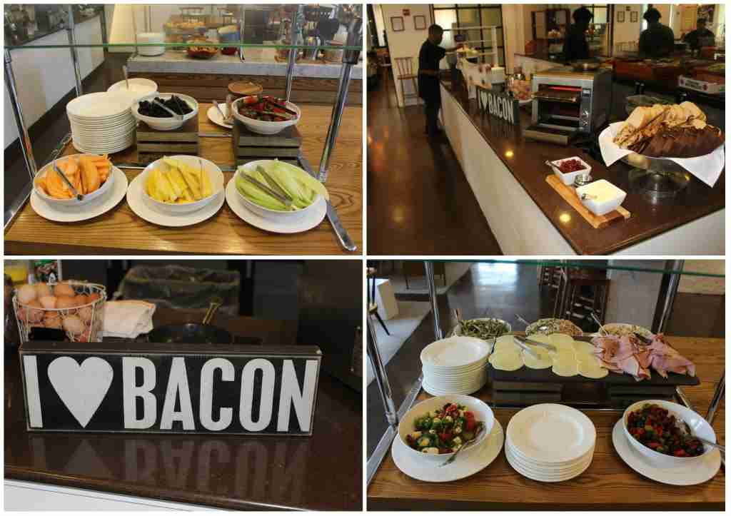 The breakfast buffet featured a wide range of options including fresh fruit, breakfast meat and southern style dishes.