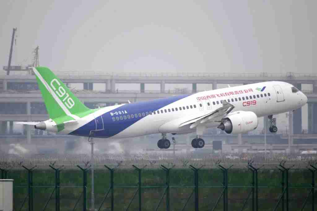 The COMAC C919 makes its first flight on May 5th, 2017. (Photo by VCG via Getty Images.)