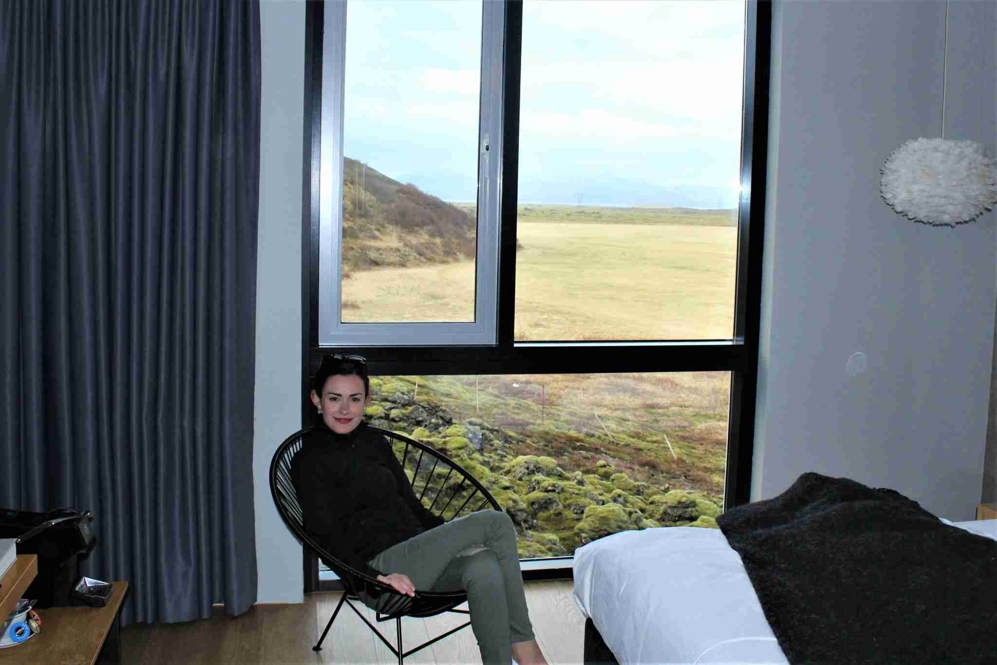 The floor to ceiling windows gave impressive views of the green landscape and nearby geothermal power plant.