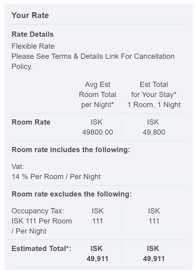 The rate shown on the SPG website was 49,800 ISK ($504 USD).