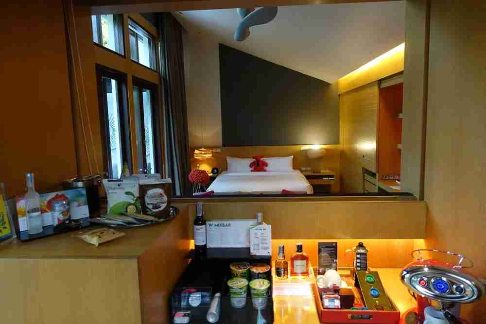The mini bar and coffee maker.