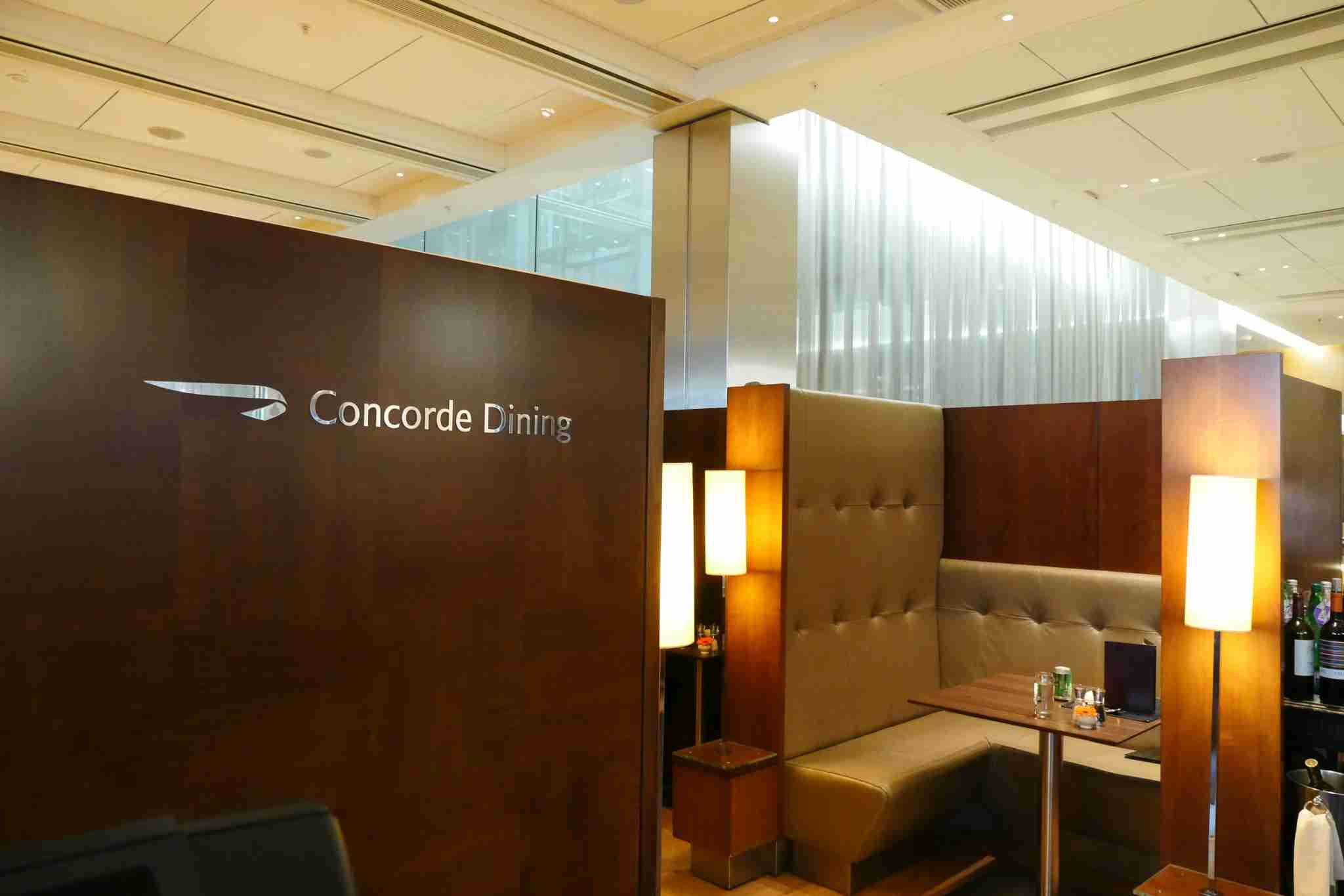 The dedicated dining area in the Concorde Room has tables which can seat two comfortably - any more persons and you