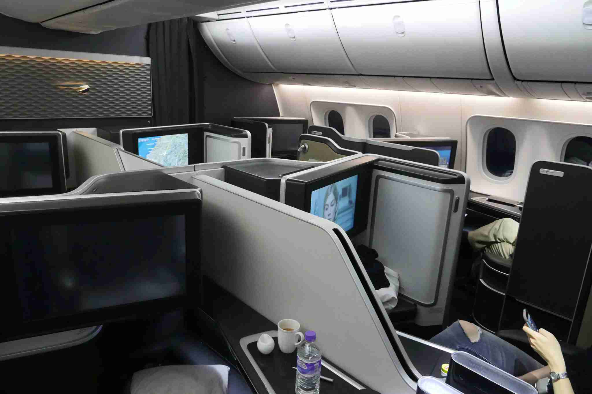 View across the 787-9 First class cabin