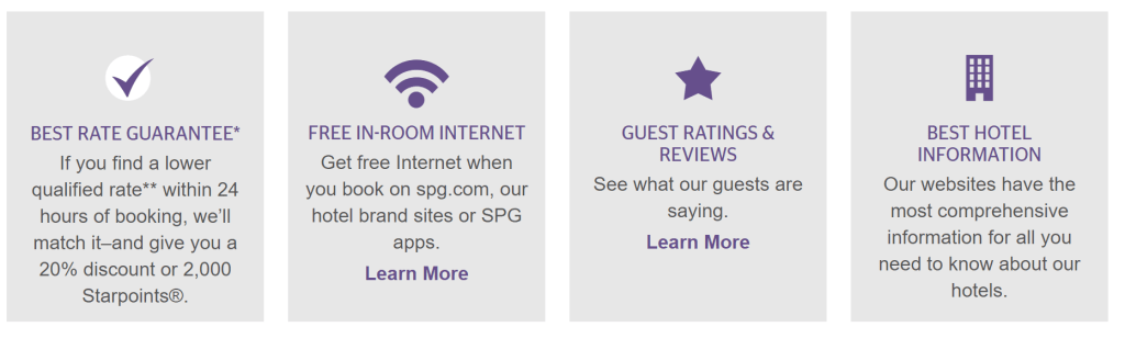 The SPG Best Rate Guarantee will match the competing rate and beat it by 20% or give you 2,000 bonus Starpoints.
