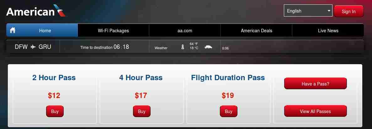 Panasonic Wi-Fi prices are the same for all flights. (Screenshot captured by Katie Genter / The Points Guy)