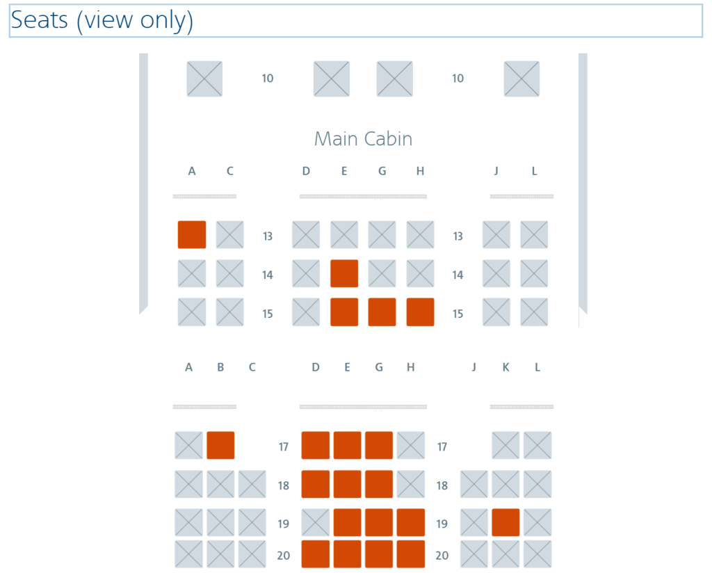 Look for the 2-4-2 front economy cabin (premium economy seats) to identify AA