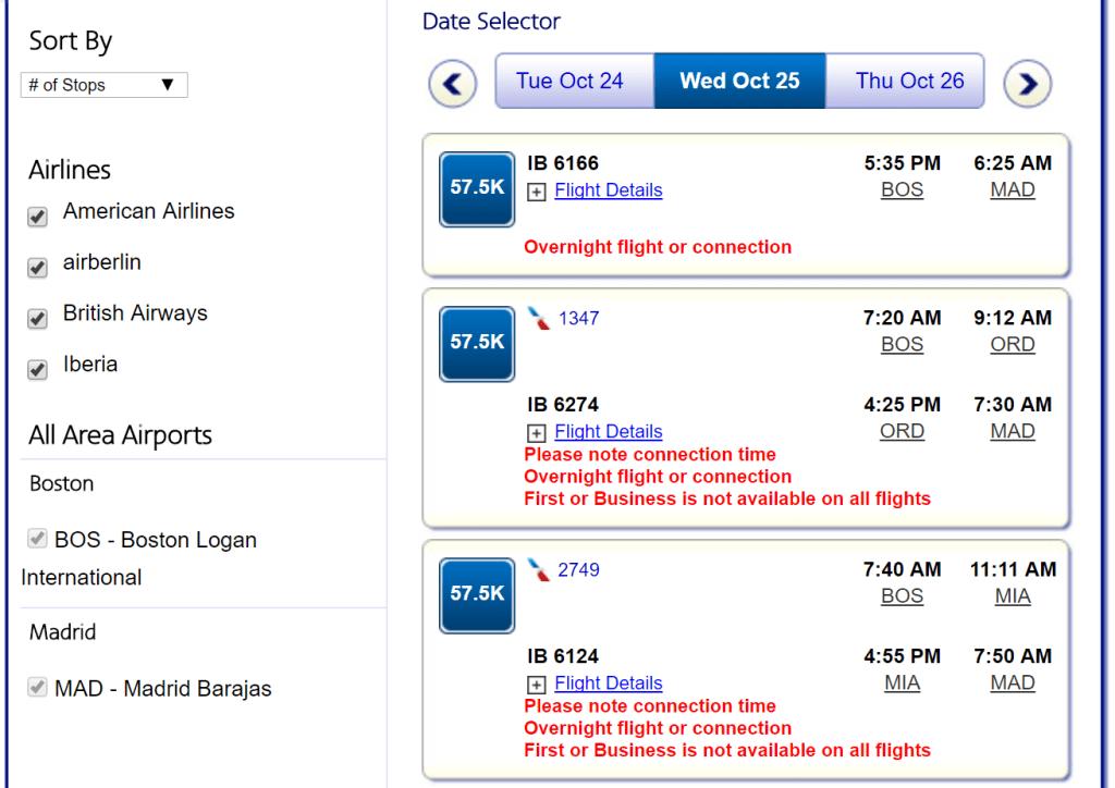 AA search Iberia biz availability