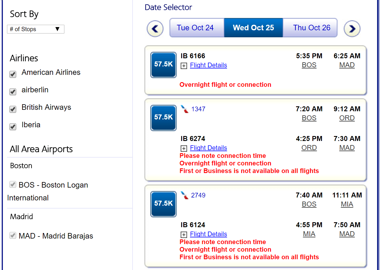 AA search Iberia biz availability