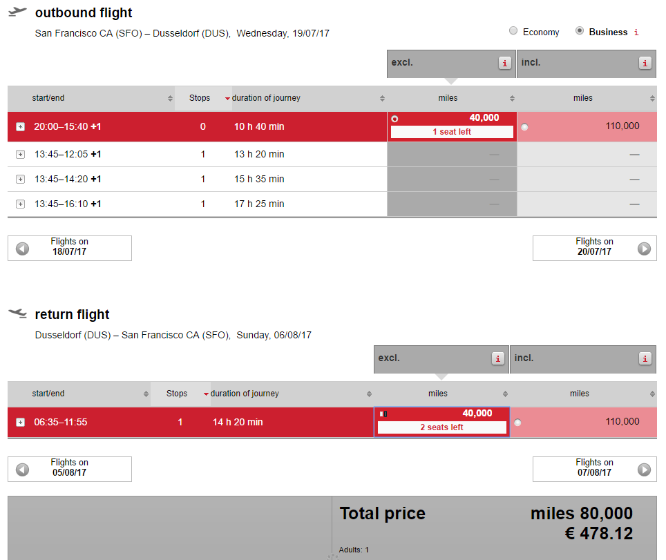AirBerlin SFO-DUS option