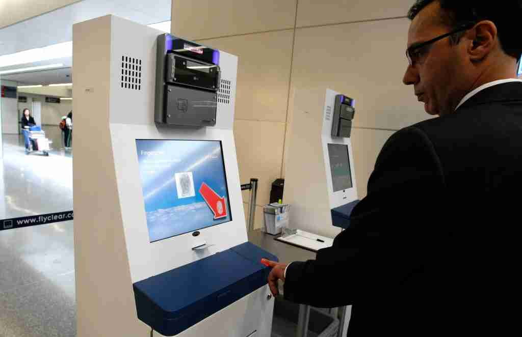 SAN FRANCISCO - OCTOBER 17: Rob Cimino, a representative from Clear, demonstrates how biometrics is used at the Clear express security lane October 17, 2007 at San Francisco International Airport in San Francisco, California. San Francisco International airport is the ninth airport in the U.S. to to offer the express security lanes which have attracted over 6,000 travelers at San Francisco International to sign up for the service which costs $99 per year and allows you to bypass long security lines. (Photo by Justin Sullivan/Getty Images)