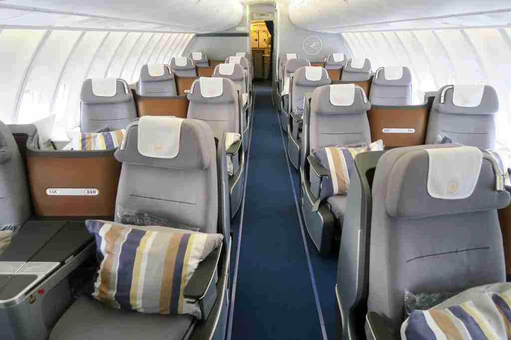 The upper deck of a Lufthansa 747-8, configured in a 2-2 business-class layout (Photo by JT Genter/TPG)