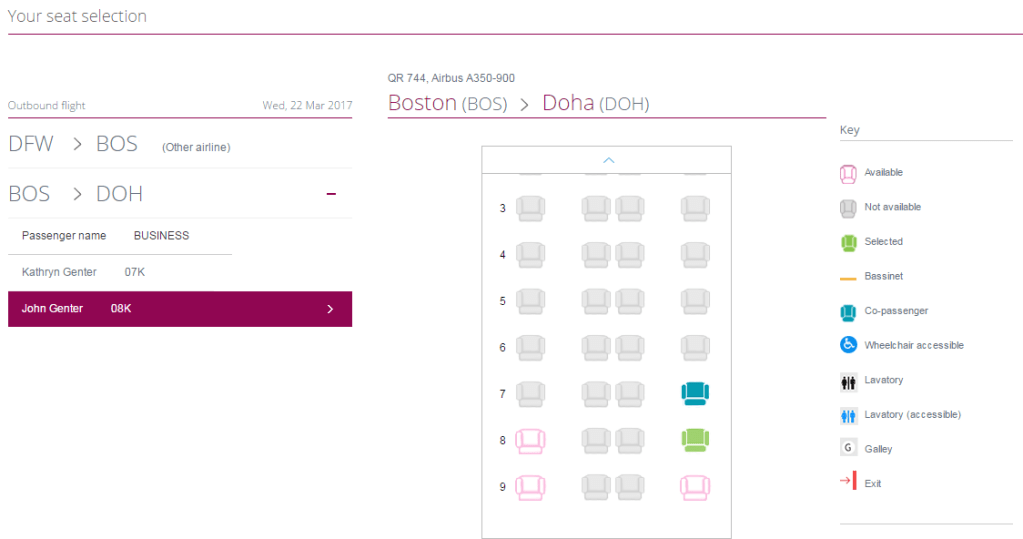 Qatar A350 BOS-DOH seat selection