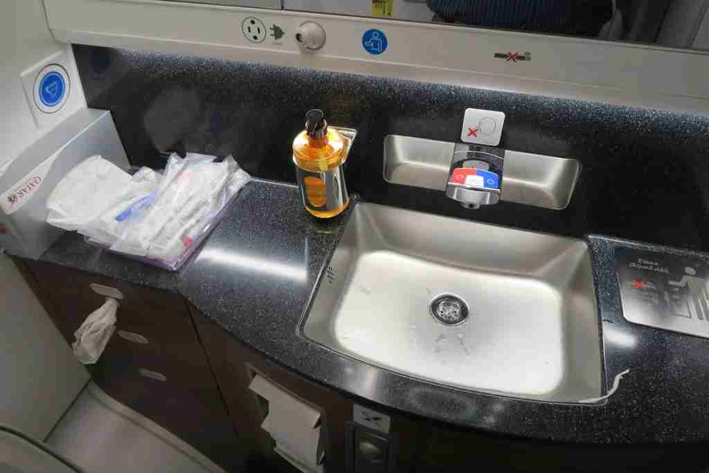 Qatar A350 business class bathroom