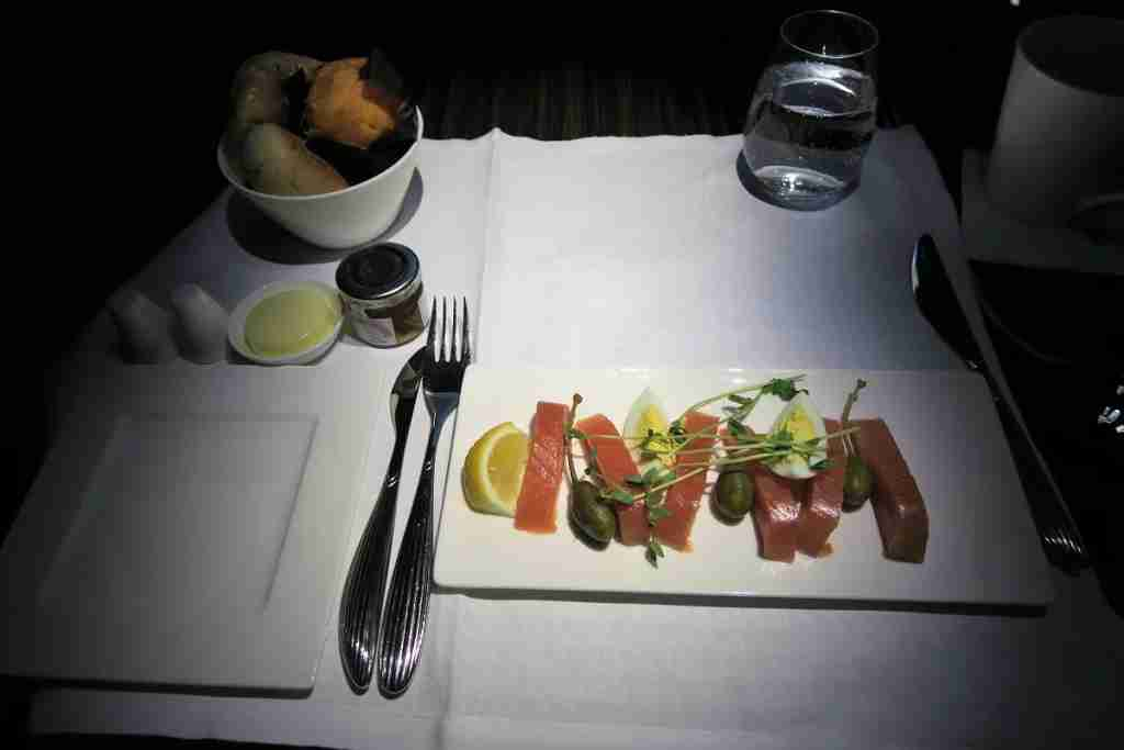 Qatar A350 salmon breakfast