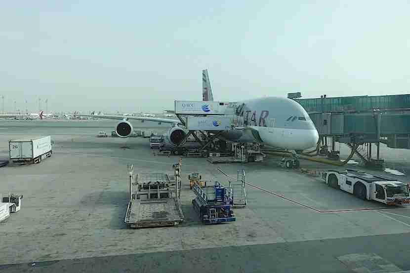 Qatar A380 food loading