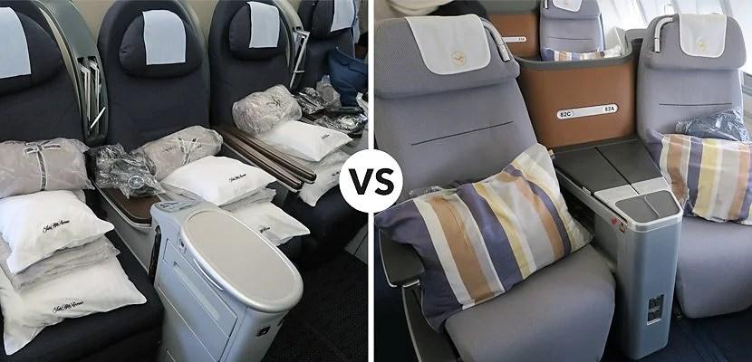Business Class Battle Lufthansa 747 8 Vs United 777 200