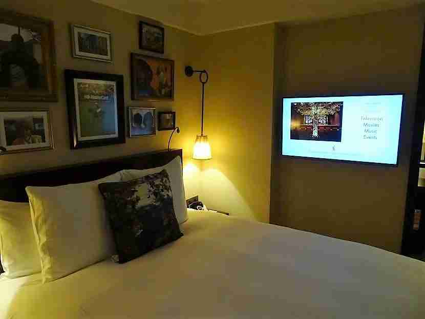 In bed? Enjoy watching the TV in your peripheral vision.