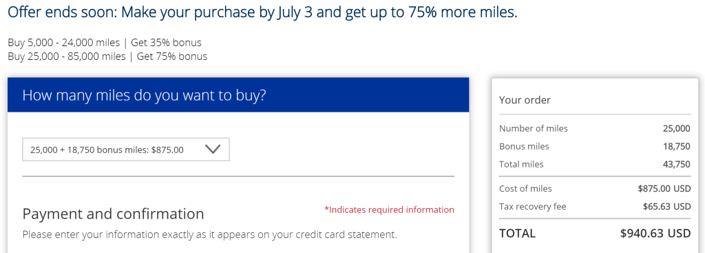 United June 2017 buy miles promo chart