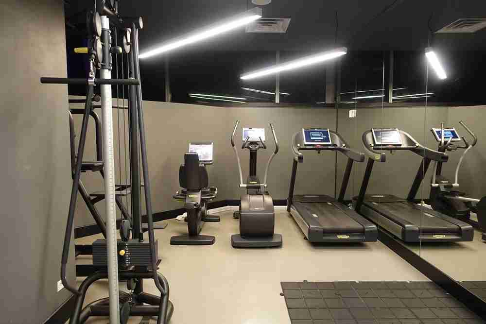 The 24-hour gym room.
