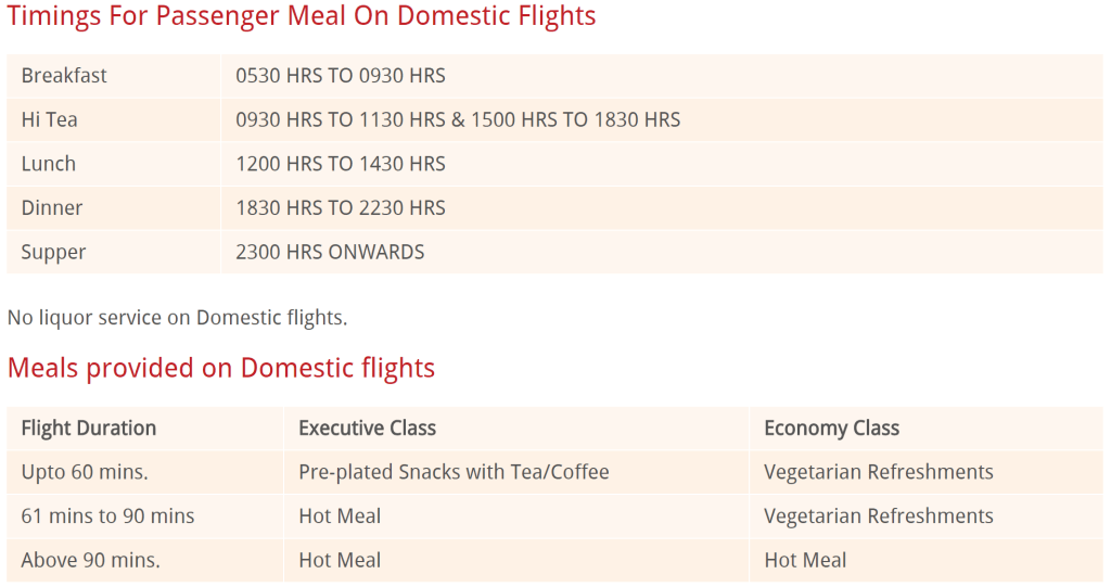 Air India meals