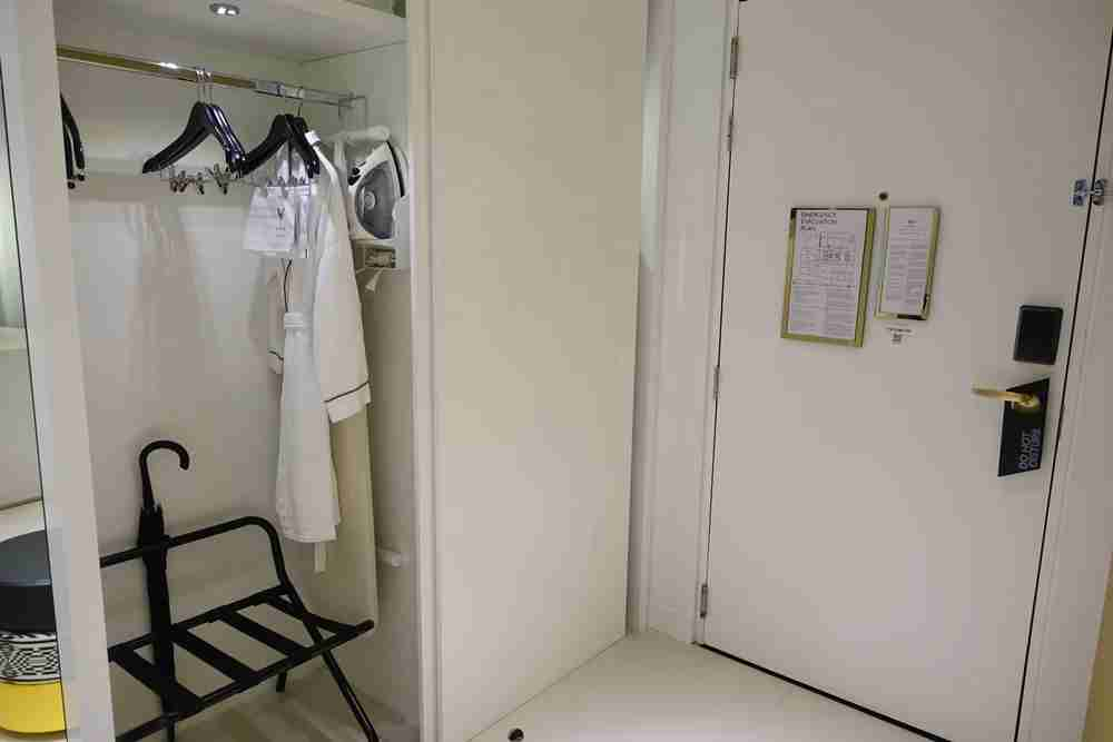 Closet, robe and iron.
