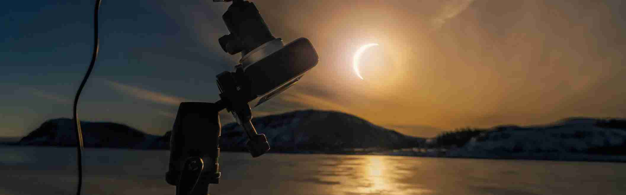 Solar eclipse, Thingvellir National Park, Iceland.