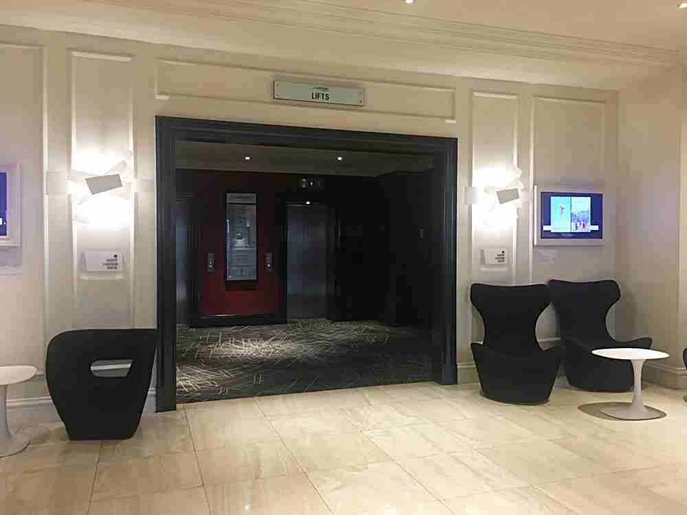 The lobby seating and elevators.