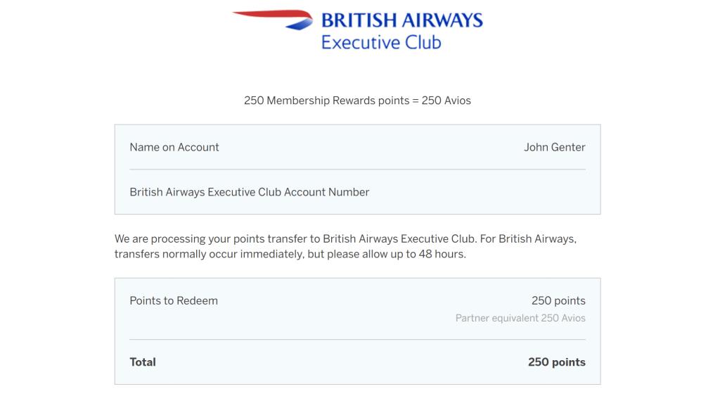 MR Avios transfer confirmation