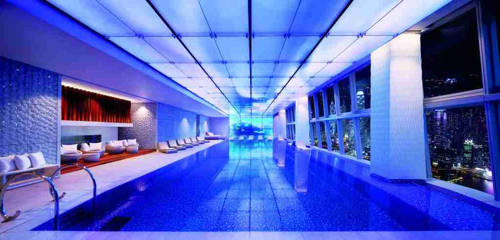 The indoor infinity pool at the Ritz-Carlton Hong Kong. Photo courtesy of hotel.