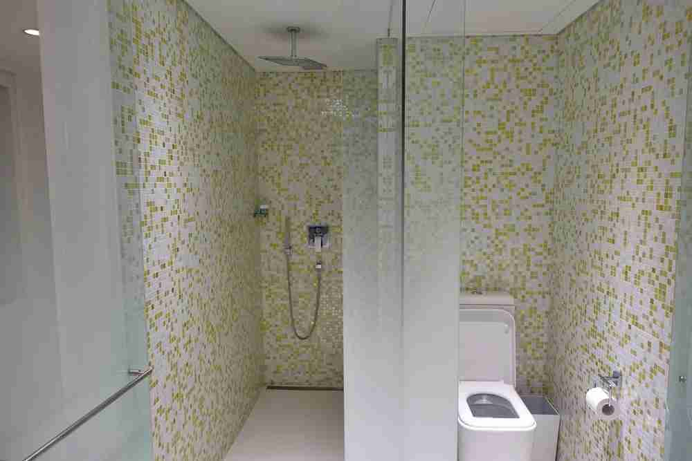 Shower and toilet areas.