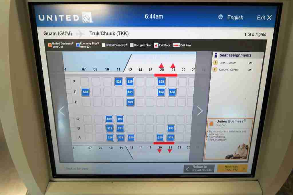 7. United Island Hopper select seats by segment - Economy Plus kiosk purchase