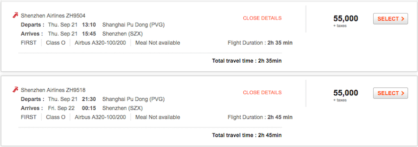 Avoid using Aeroplan miles for Shenzhen first class.