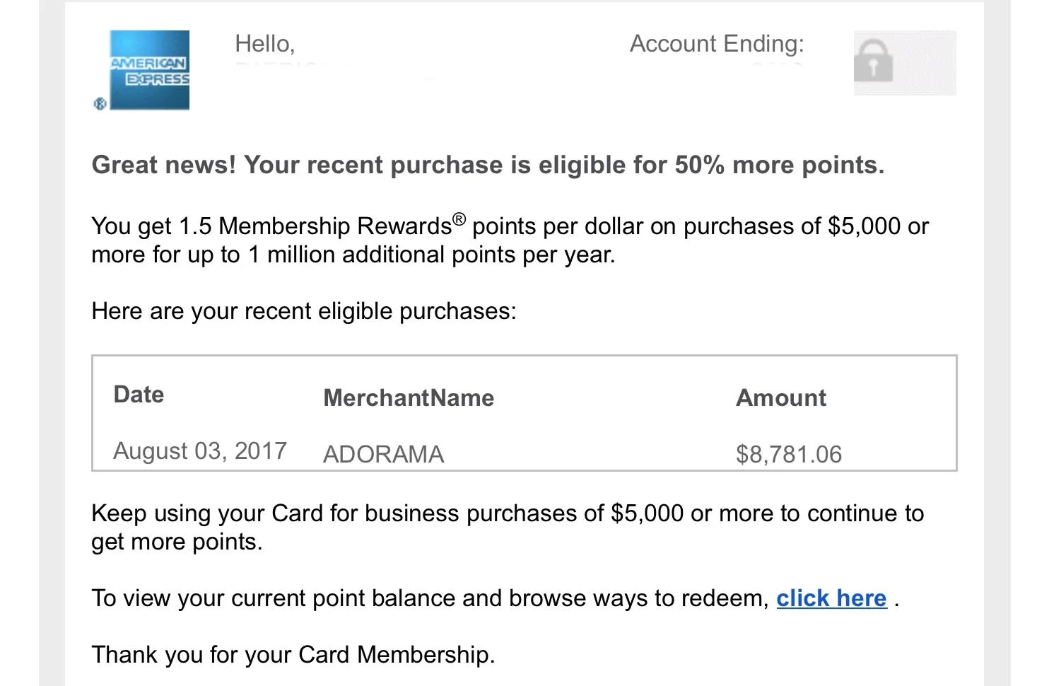 de487033dab The congratulations email from Amex told me I would receive the 50% bonus -  but