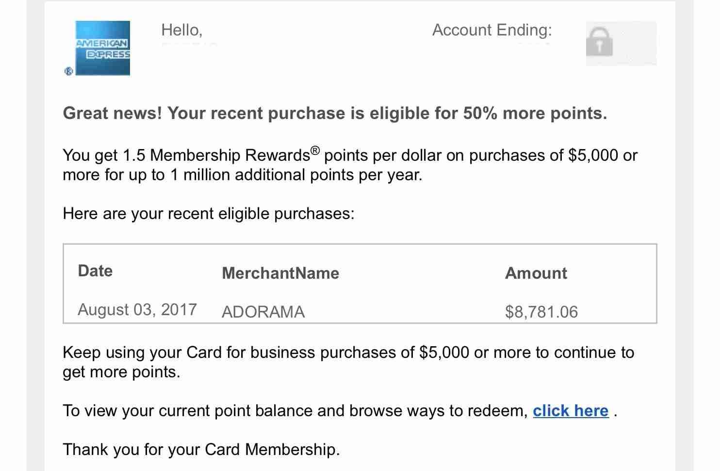 The congratulations email from Amex told me I would receive the 50% bonus - but not for the whole amount I had expected.