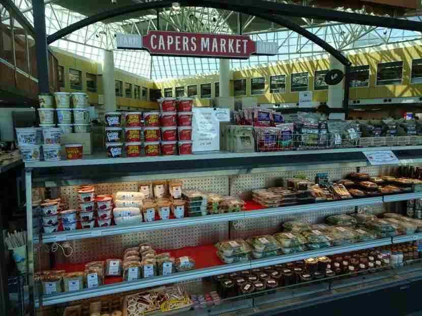 A huge array of prepared foods (as well as classics like Cocoa Puffs) are available from Capers Market.