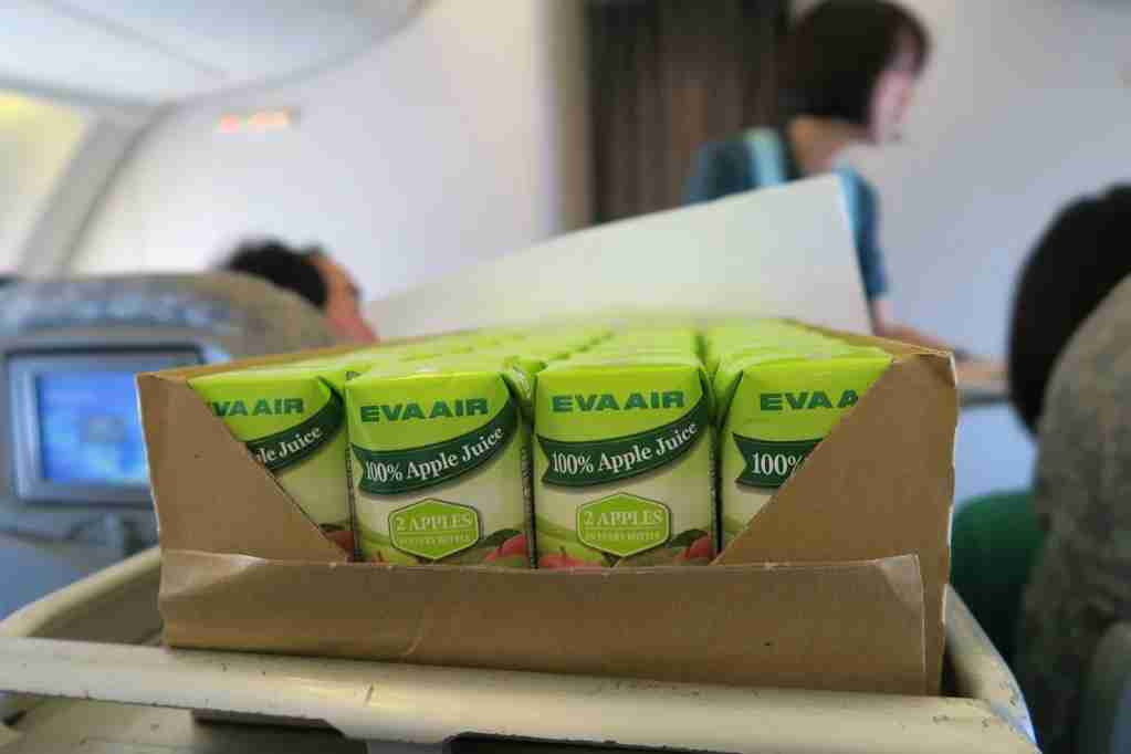EVA Air 747 juice boxes
