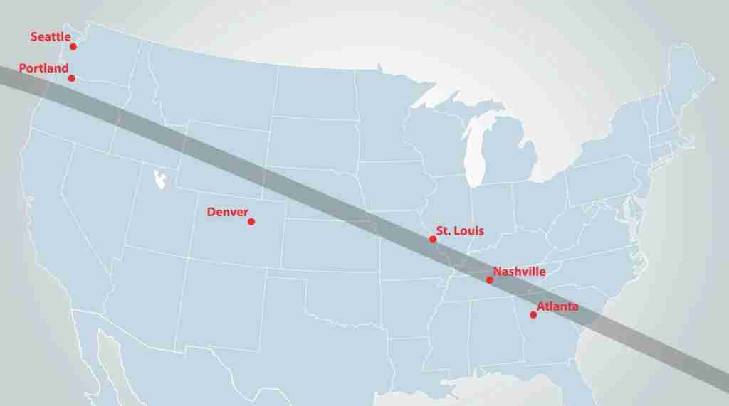 2017 solar eclipse map, courtesy Southwest Airlines.