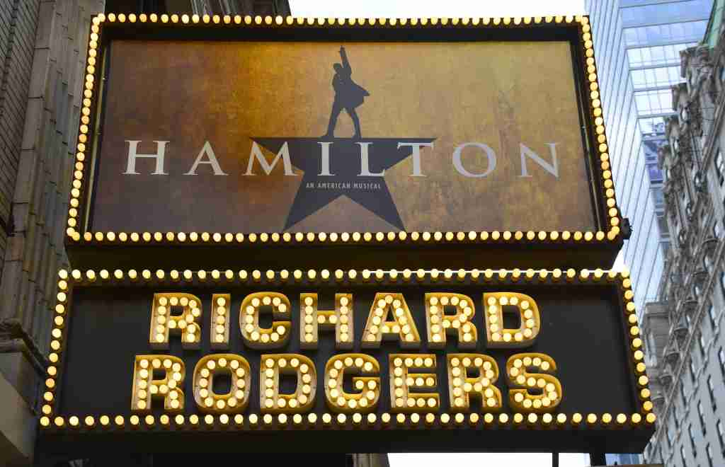 "NEW YORK, NY - APRIL 27, 2015: The Richard Rodgers Theatre on 46th Street in New York City is the site of the July 13, 2015 Broadway theater premiere of the musical ""Hamilton,"