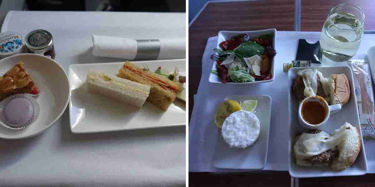 The second meal was a bit simpler on British Airways (left) but the sliders on American (right) were incredible.