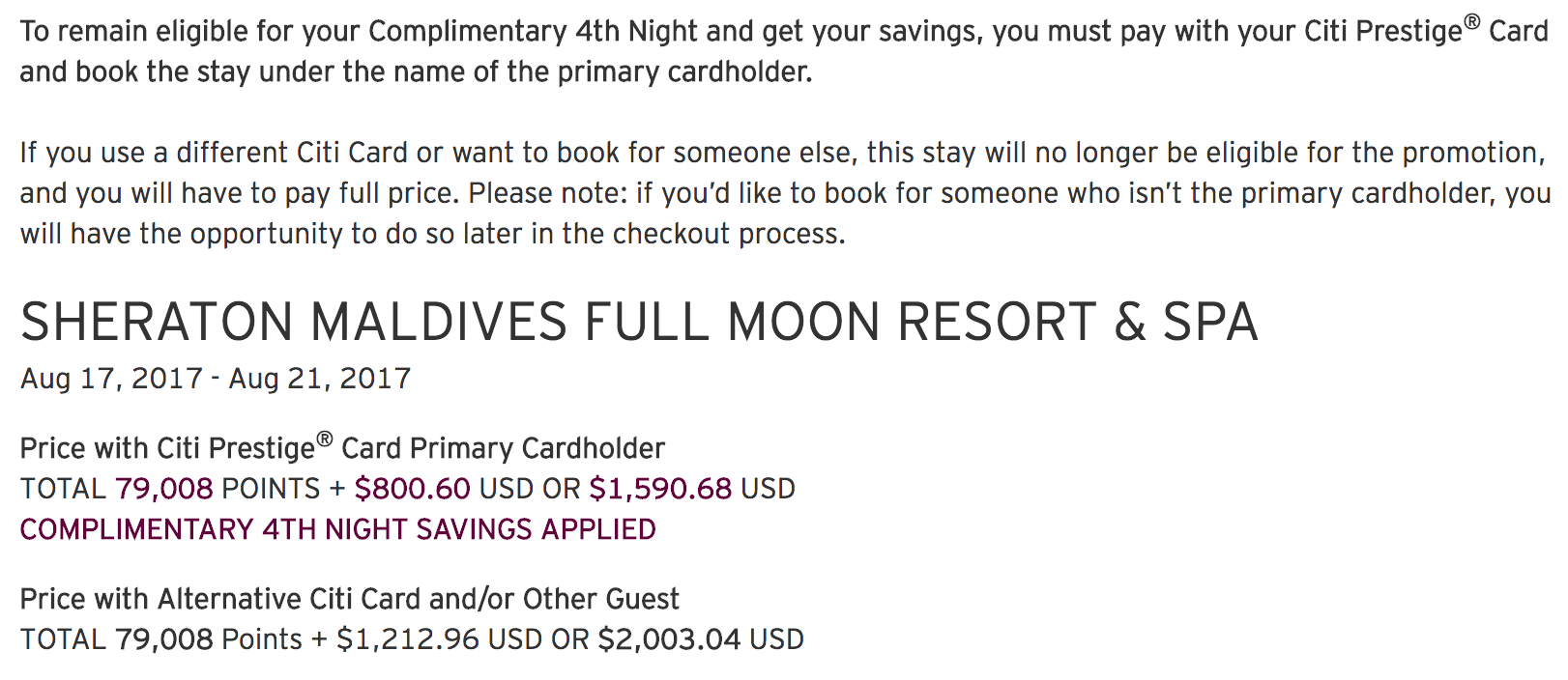 Your guide to booking citi prestige 4th night free stays screen shot 2017 08 02 at 101643 am expocarfo Images