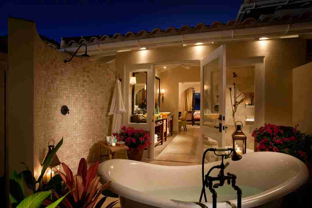 A suite bathroom. Image courtesy of Jumby Bay, A Rosewood Resort.