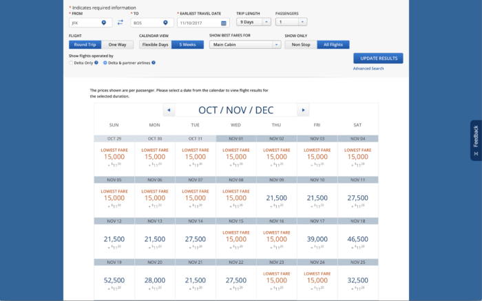 In this search for a Delta roundtrip JFK-BOS award flight, the price can vary widely