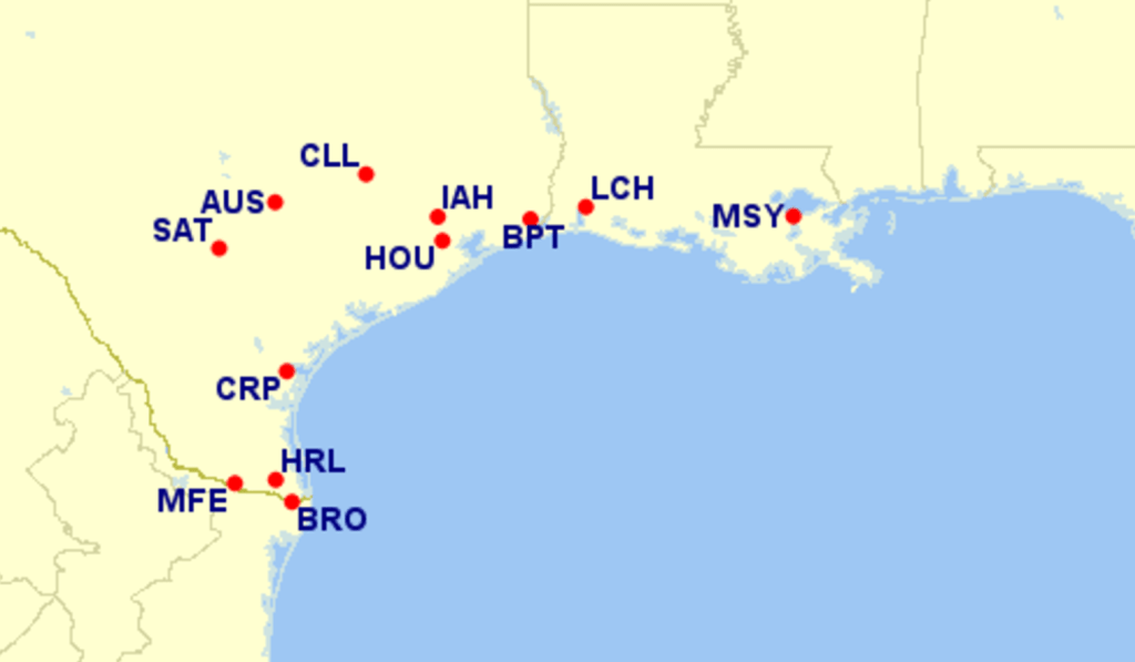 Tropical Storm Harvey waiver airports