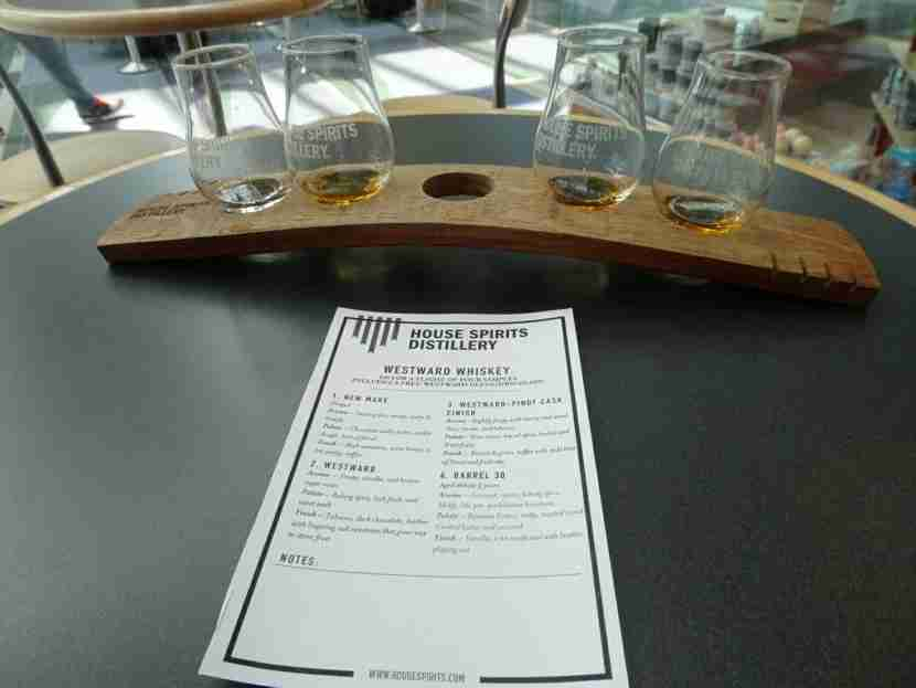 Catch this flight: whiskey samples from House Spirits Distillery.