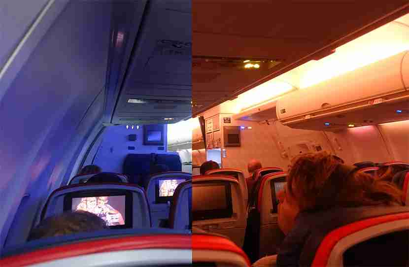 Blue lighting for departure and meal service, orange for sunrise and arrival. Always nice to see dynamic lighting in non-premium cabins.